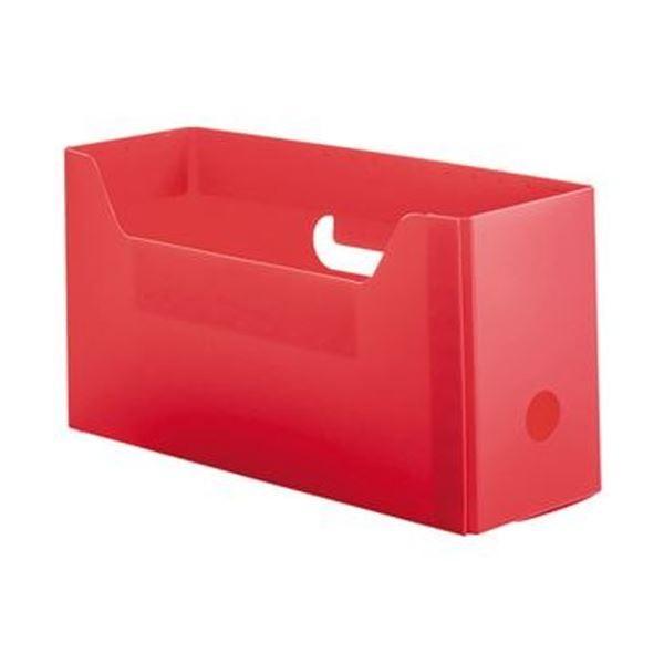 TANOSEE PP製ボックスファイル 組み立て式 セール品 A4ヨコ 超人気 専門店 ショートサイズ レッド 1 ファイルボックス ×5 10個