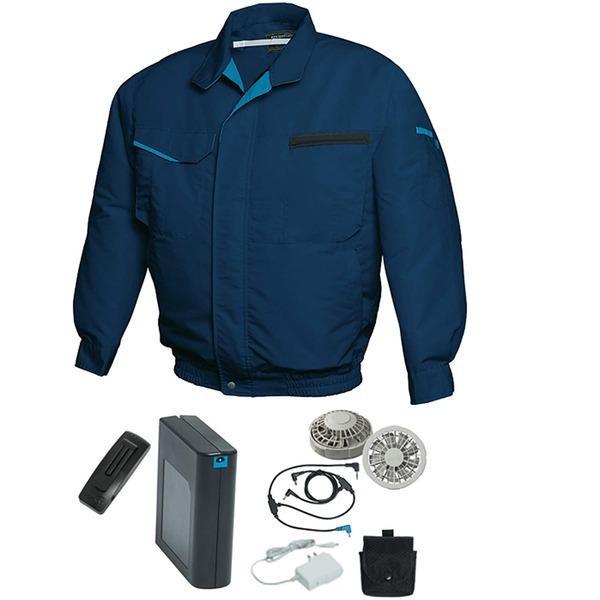 空調服 作業着 サービス M ネイビー シルバーファン バッテリーセット 新入荷 流行 FIT 綿 ポリエステル混紡 洗濯耐久性 FAN FF91810