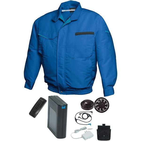 <title>空調服 作業着 5L ブルー メーカー在庫限り品 ブラックファン バッテリーセット 綿 ポリエステル混紡 洗濯耐久性 FAN FIT FF91810</title>