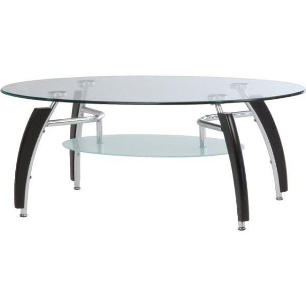 強化ガラス製センターテーブル アーク 送料0円 丸型 棚板収納付き センターテーブル BR 送料無料 組立品 ブラウン