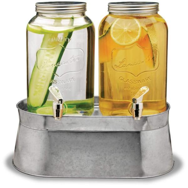 飲料水サーバー ダブルドリンクディスペンサー ビバレッジディスペンサー 飲料ジャー ドリンクバー 約3.6L Circleware Double Mason Jar