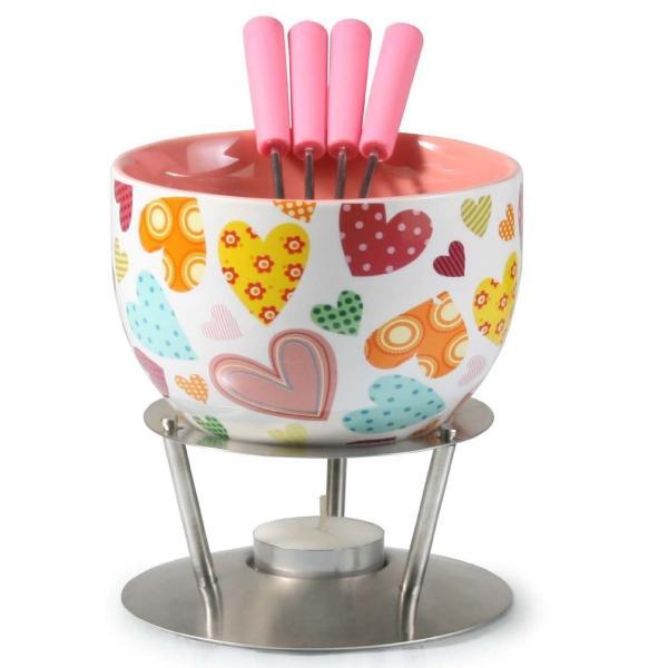 アルテシア チョコレートフォンデュセット チーズフォンデュ かわいいハート柄 Artestia Chocolate Fondue Set - Bold Hearts (6 Pieces) AR-82006