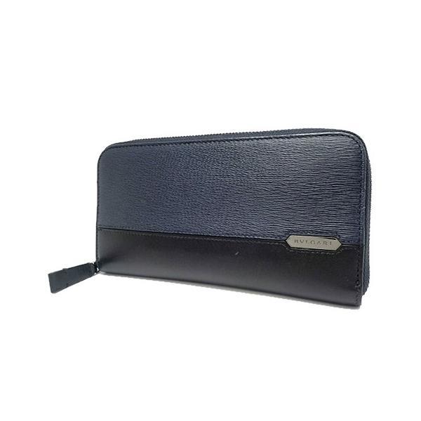 d610d862f221 BVLGARI(ブルガリ)セルペンティ スカリエマン ラウンドファスナー長財布 ウォレット レザー ブルー青 ブラック黒