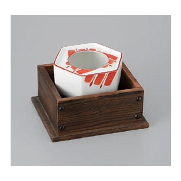 灰皿 赤刷毛目 4.0 灰皿(木枠付) アッシュトレイ 陶器