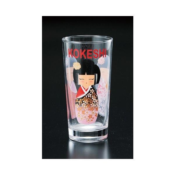タンブラー グラス こけし ガラス製 ビアグラス コップ