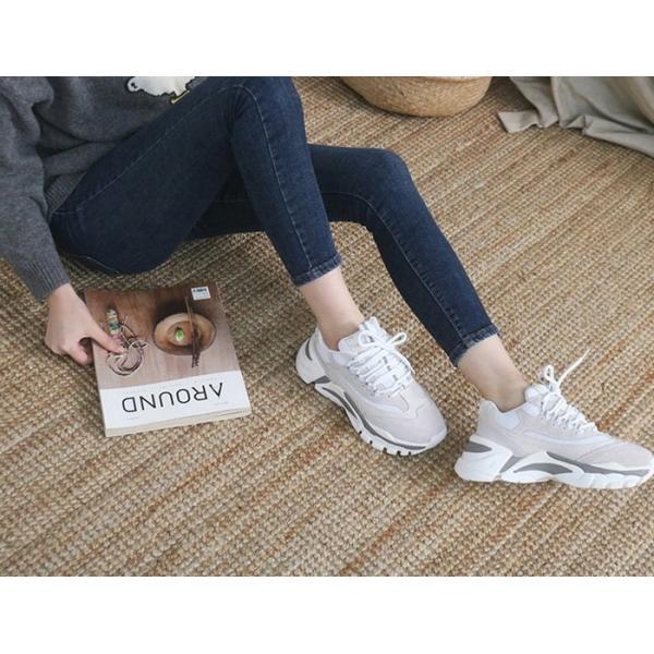 スニーカー レディース レースアップ スポーツ 春 ファッション 靴 婦人靴 グレー|alice-style|03