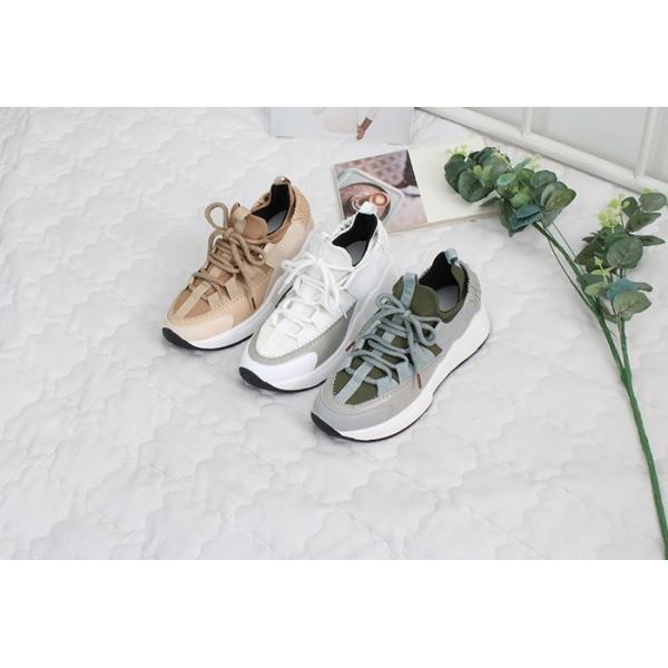 スニーカー レディース レースアップ スポーツ 春 ファッション 靴 婦人靴 白 ベージュ グレー|alice-style|02