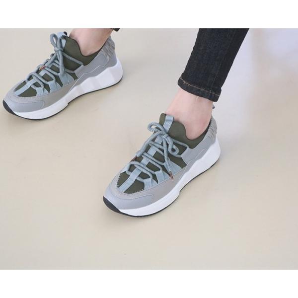 スニーカー レディース レースアップ スポーツ 春 ファッション 靴 婦人靴 白 ベージュ グレー|alice-style|14