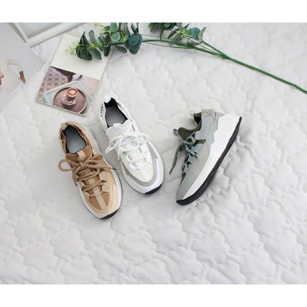 スニーカー レディース レースアップ スポーツ 春 ファッション 靴 婦人靴 白 ベージュ グレー|alice-style|19