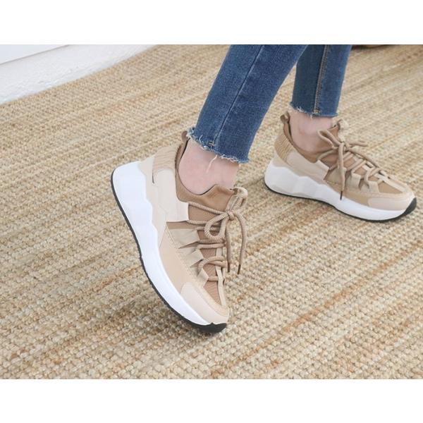 スニーカー レディース レースアップ スポーツ 春 ファッション 靴 婦人靴 白 ベージュ グレー|alice-style|06