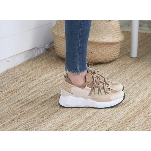 スニーカー レディース レースアップ スポーツ 春 ファッション 靴 婦人靴 白 ベージュ グレー|alice-style|07
