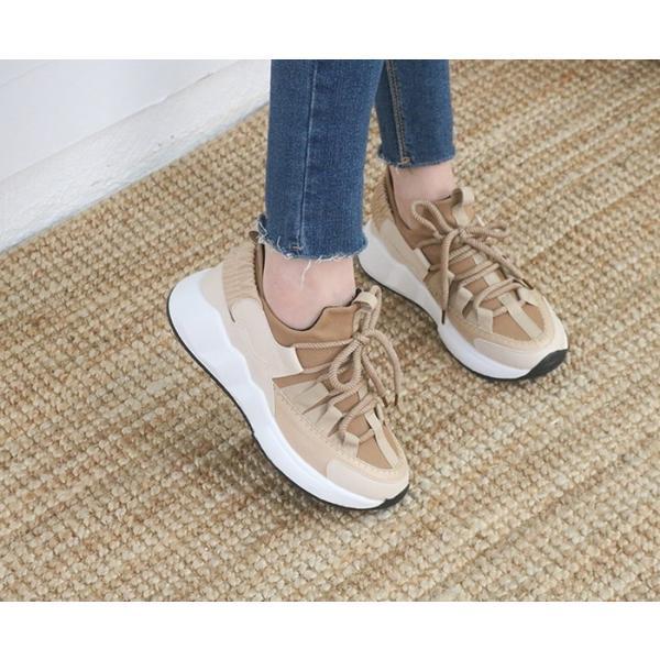スニーカー レディース レースアップ スポーツ 春 ファッション 靴 婦人靴 白 ベージュ グレー|alice-style|09