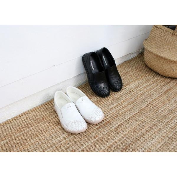 スリッポン レディース スニーカー レザー 本革 春 ファッション 靴 婦人靴 黒 白|alice-style|02
