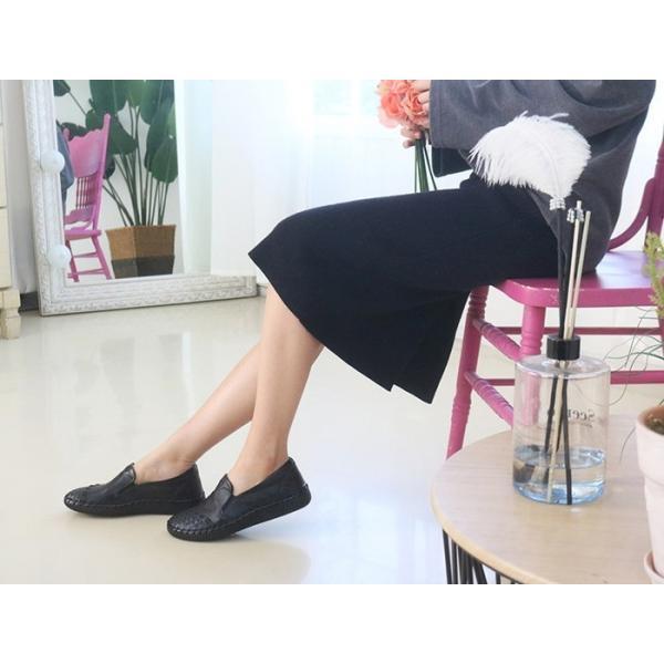 スリッポン レディース スニーカー レザー 本革 春 ファッション 靴 婦人靴 黒 白|alice-style|11