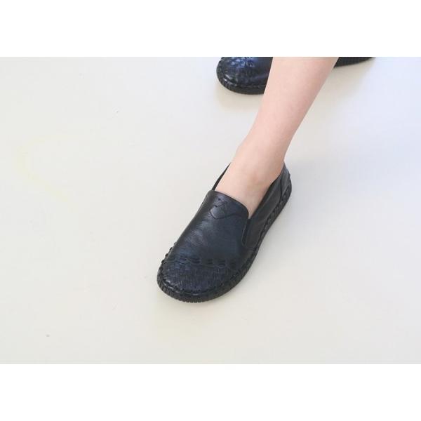 スリッポン レディース スニーカー レザー 本革 春 ファッション 靴 婦人靴 黒 白|alice-style|12