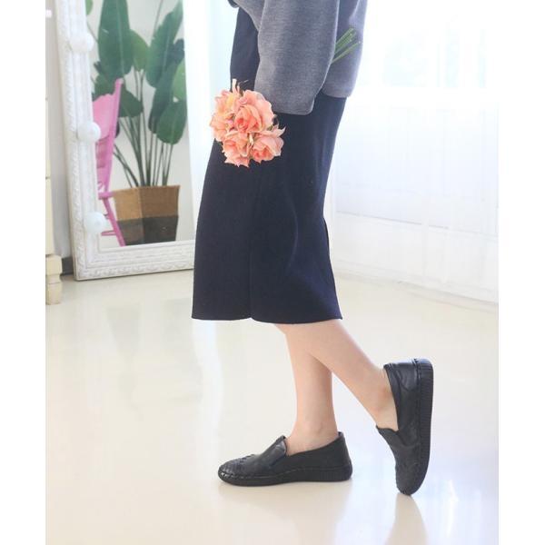 スリッポン レディース スニーカー レザー 本革 春 ファッション 靴 婦人靴 黒 白|alice-style|13