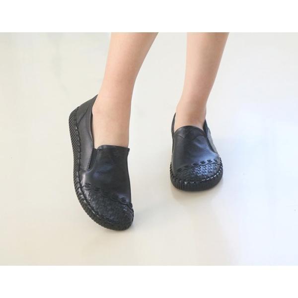 スリッポン レディース スニーカー レザー 本革 春 ファッション 靴 婦人靴 黒 白|alice-style|14