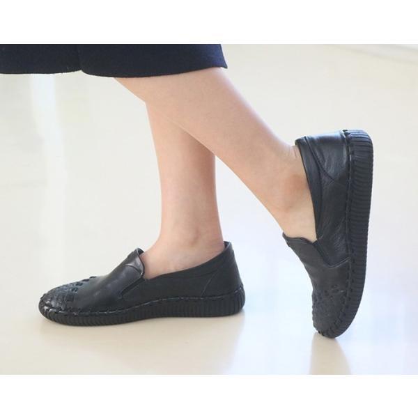 スリッポン レディース スニーカー レザー 本革 春 ファッション 靴 婦人靴 黒 白|alice-style|15
