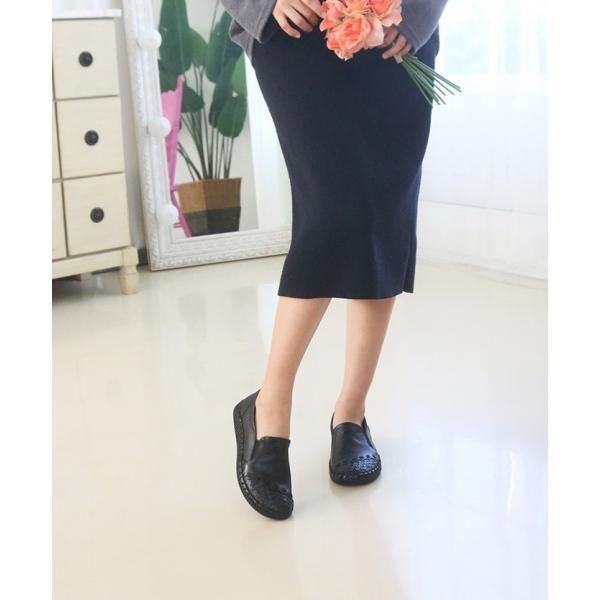 スリッポン レディース スニーカー レザー 本革 春 ファッション 靴 婦人靴 黒 白|alice-style|16