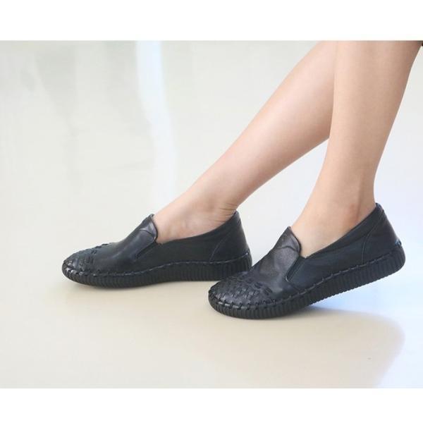 スリッポン レディース スニーカー レザー 本革 春 ファッション 靴 婦人靴 黒 白|alice-style|17