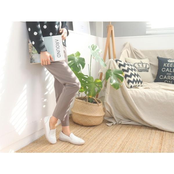 スリッポン レディース スニーカー レザー 本革 春 ファッション 靴 婦人靴 黒 白|alice-style|03