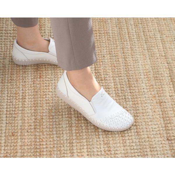 スリッポン レディース スニーカー レザー 本革 春 ファッション 靴 婦人靴 黒 白|alice-style|04