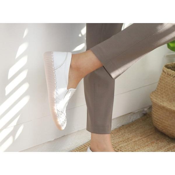 スリッポン レディース スニーカー レザー 本革 春 ファッション 靴 婦人靴 黒 白|alice-style|06