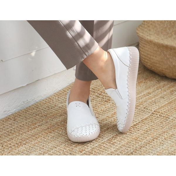 スリッポン レディース スニーカー レザー 本革 春 ファッション 靴 婦人靴 黒 白|alice-style|07