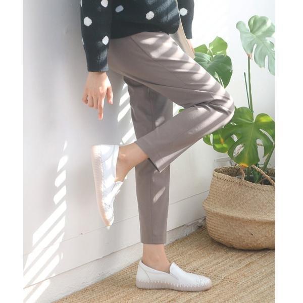 スリッポン レディース スニーカー レザー 本革 春 ファッション 靴 婦人靴 黒 白|alice-style|08