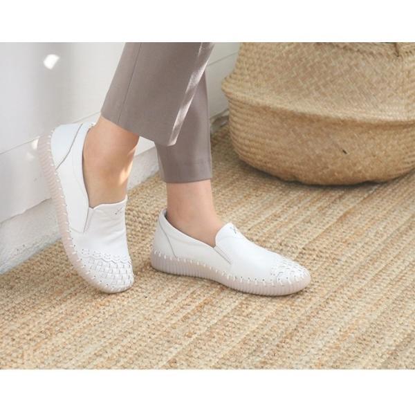 スリッポン レディース スニーカー レザー 本革 春 ファッション 靴 婦人靴 黒 白|alice-style|09