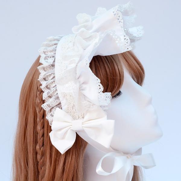ロリータ へアバンド カチューシャ ヘッドドレス かわいい フリル 姫 豪華 ホワイト ピンク alicedoll
