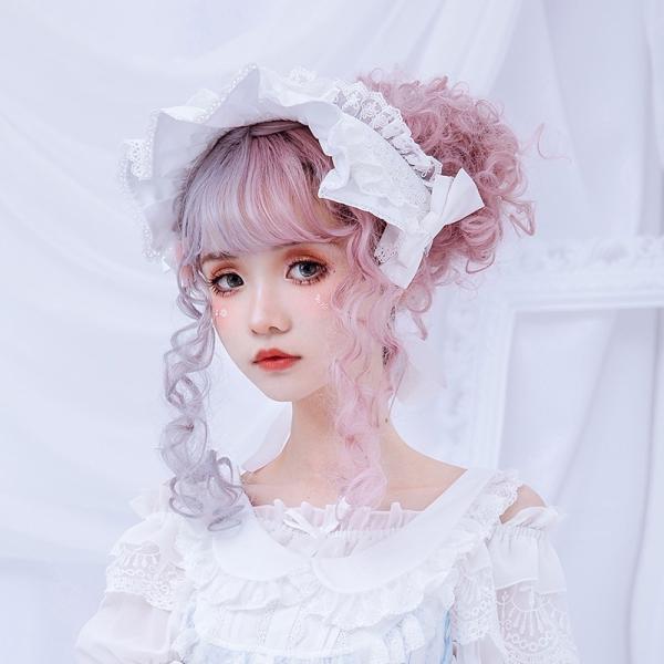 ロリータ へアバンド カチューシャ ヘッドドレス かわいい フリル 姫 豪華 ホワイト ピンク alicedoll 03