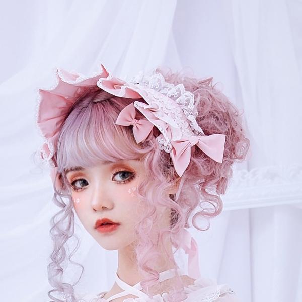 ロリータ へアバンド カチューシャ ヘッドドレス かわいい フリル 姫 豪華 ホワイト ピンク alicedoll 04
