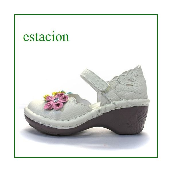 エスタシオン靴 estacion et140iv アイボリー 【可愛いフラワーカット。。エスタシオン靴・・お花の ワンベルト】