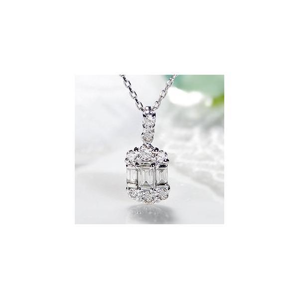 ダイヤモンド ネックレス バケットカット 18k 18金 ゴールド 0.2ct スクエア 長方形 ダイヤ ペンダント AL-0178|alisa