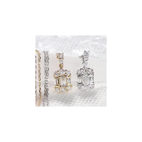 ダイヤモンド ネックレス バケットカット 18k 18金 ゴールド 0.2ct スクエア 長方形 ダイヤ ペンダント AL-0178|alisa|02