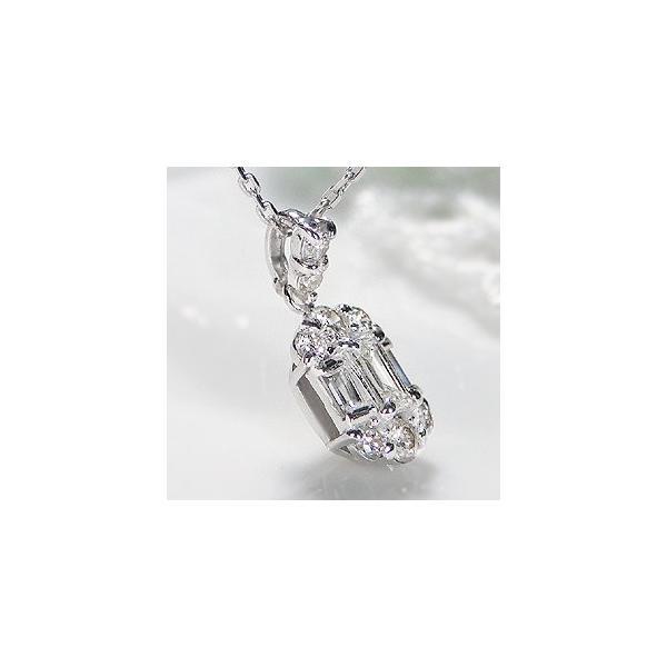 ダイヤモンド ネックレス バケットカット 18k 18金 ゴールド 0.2ct スクエア 長方形 ダイヤ ペンダント AL-0178|alisa|04