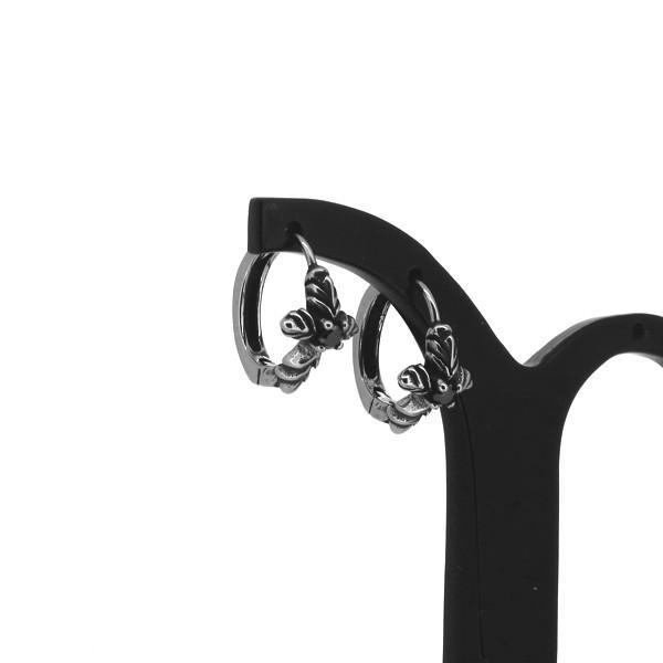 クロス フープピアス 2P 両耳用 ブラックCZ ブラックジルコニア ピアス イヤリング サージカルステンレス プレゼント