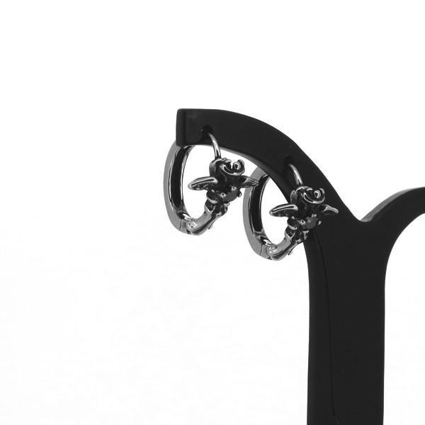 クロス フープピアス 2P 両耳用 ブラックCZ ウイング 翼 フレア ジルコニア ピアス イヤリング サージカルステンレス プレゼント