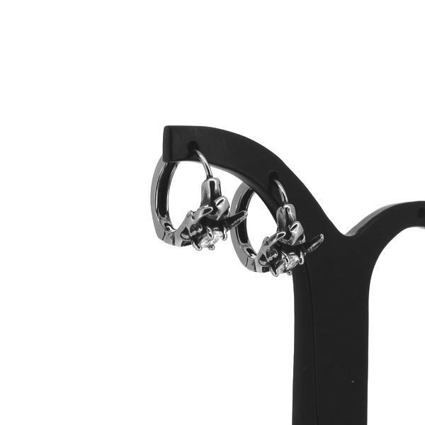エンブレム フープピアス 2P 両耳用 ホワイトCZ スパイク ジルコニア ピアス イヤリング サージカルステンレス プレゼント