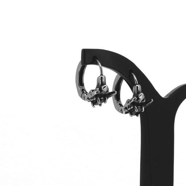 エンブレム フープピアス 2P 両耳用 ブラックCZ スパイク ジルコニア ピアス イヤリング サージカルステンレス プレゼント