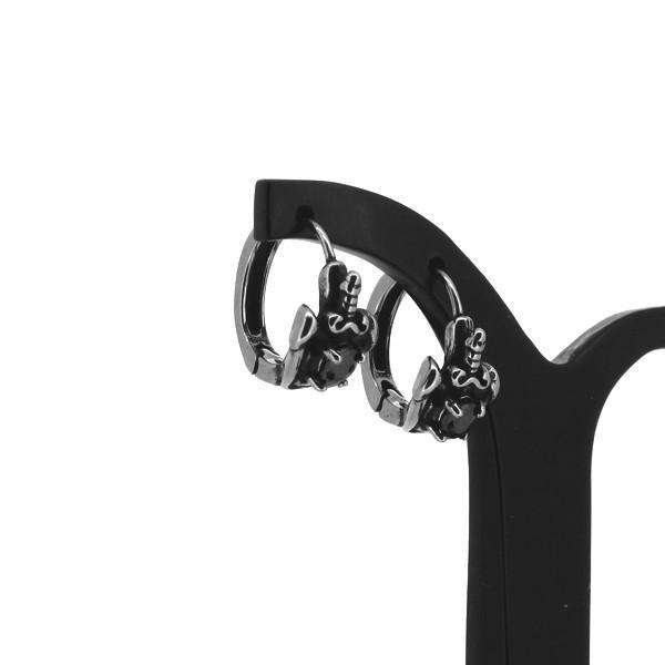 ソード フープピアス 2P 両耳用 ブラックCZ 剣 シールド 盾 ジルコニア ピアス イヤリング サージカルステンレス プレゼント