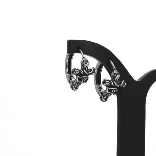 スカル フープピアス 2P 両耳用 クロス 十字架 磔刑 ピアス イヤリング サージカルステンレス 金属アレルギーフリー プレゼント