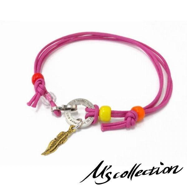 Ms collection ブレスレッド メンズ ブランド 3WAY ピンクコード 羽根 フェザー アンクレット チョーカー エムズコレクション