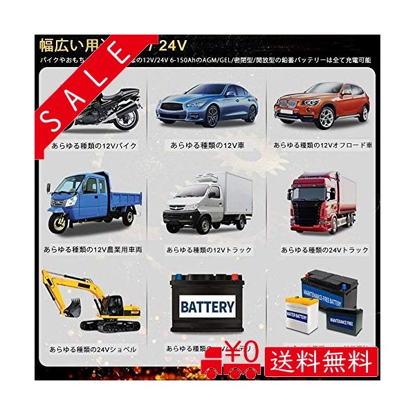 HaoGu 2020年 最新品 バッテリー充電器 バイク 自動車用 12V 24V全自動 バッテリーチャージャーメンテナンス充電器|all-box-1-100|07
