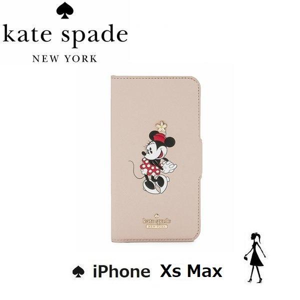ケイトスペード kate spade iPhone XS Max 手帳型レザーケース  ミニーマウス フォリオ|all-for-you