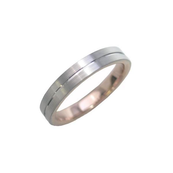 つや消し 結婚指輪 マリッジリング ペアリング K18ホワイトゴールド ピンクゴールド