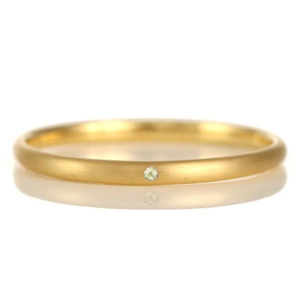 指輪 レディース シンプル 18金 ゴールド つや消し マット 甲丸 天然石 ペリドット