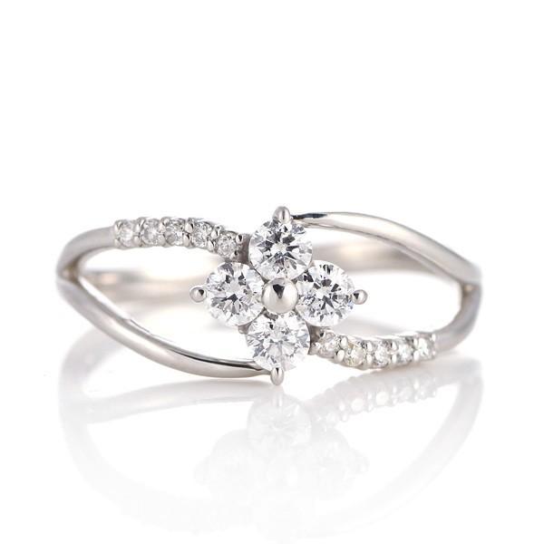 プラチナ ダイヤモンド エタニティ リング 指輪 クローバー 0.3カラット スイートエタニティ