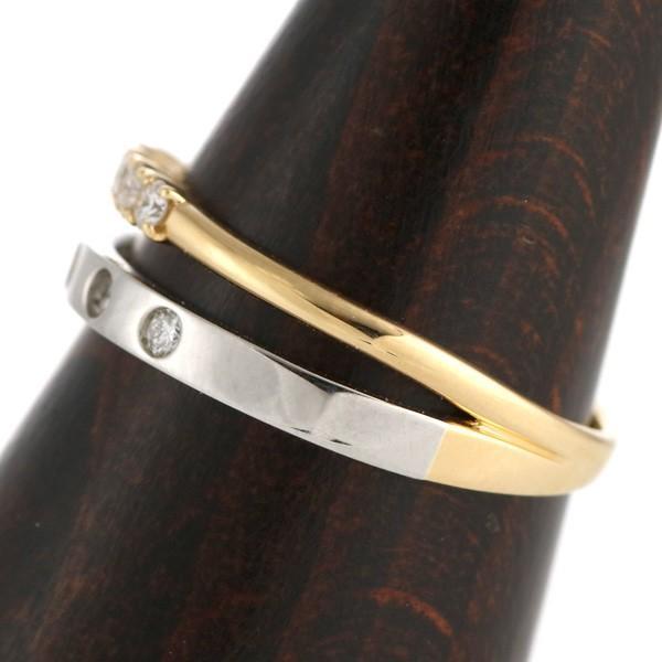 18金 ゴールド プラチナ 900 コンビ 2色 デザイン ダイヤモンド リング 指輪
